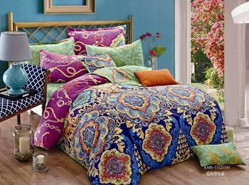 blue purple green floral bedding set queen size duvet cover sheets bedspread bed in a bag