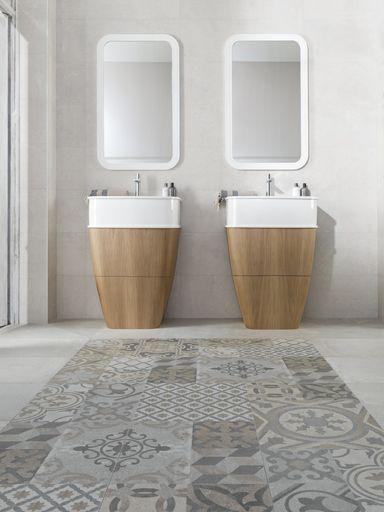 Diseños vintage y relieves chic decoran la piedra cerámica Dover de Porcelanosa en revestimientos y pavimentos