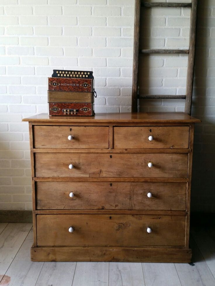 Refinished Antique Pine Dresser with White Ceramic Knobs