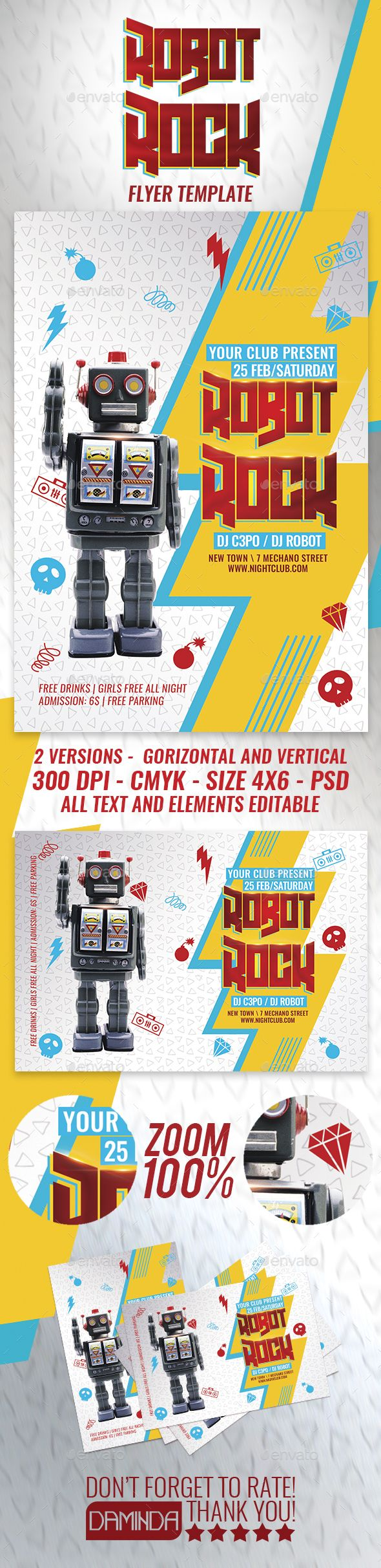 Poster design in photoshop 7 - Robot Rock Flyer Template Photoshop Psd Awesome New Wave
