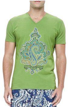 Etro Graphic T Shirt Green