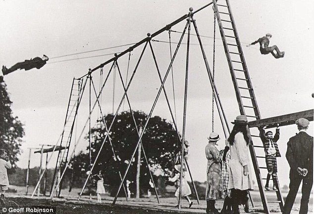 believed to be the world's first playground swing at Wicksteed Park in Kettering, Northamptonshire in 1923