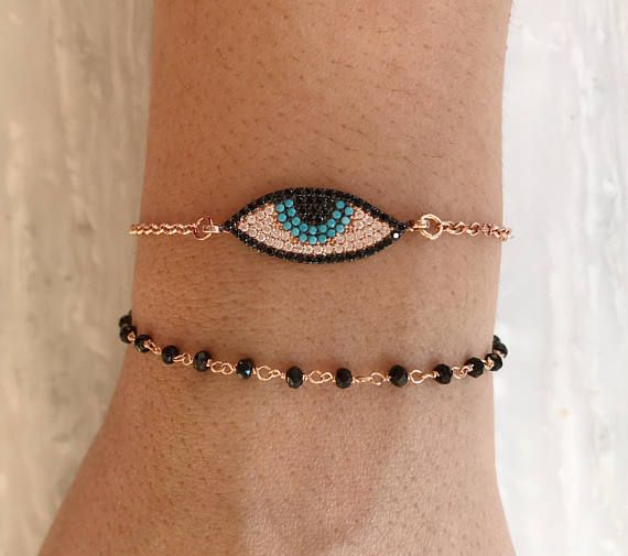 Evil Eye Bracelet, CZ Evil Eye Charm, Rosary Bracelet, Protection Bracelet, Rose Gold Jewelry, Made from Sterling Silver 925.