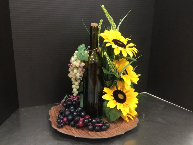 Michael S Floral Italian Tuscan Wine Bottle Centerpiece