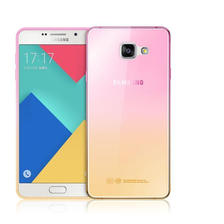 Pink and Yellow / S3Fashion Soft TPU Gradient Color Back Cover Case for Samsung Galaxy A3 A5 A7 J1 J3 J5 J7 S3 S4 S5 S6 S7 Edge Grand Prime