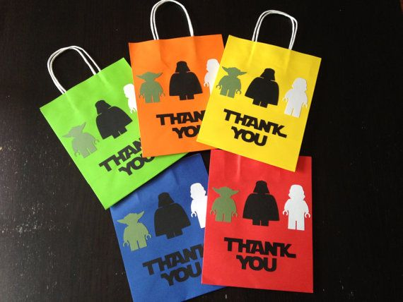 Star Wars Lego Yoda Darth Vader and Stormtrooper silhouette Party Favors Goodie Bags Gift Bag - Yellow Green Blue Red and Orange - Set of 10
