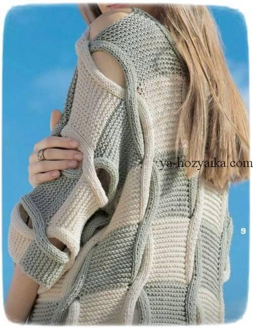"""Двухцветный пуловер с """"косами"""""""