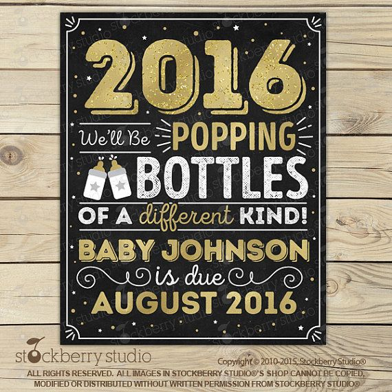 New Years Pregnancy Announcement Chalkboard by stockberrystudio