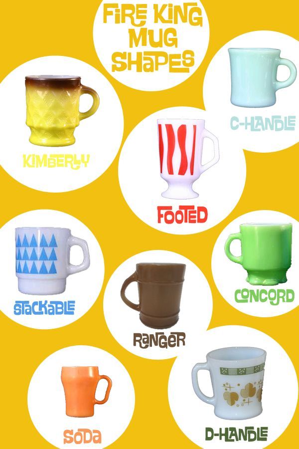 Fire King mugs-- great graphic!  All my FK mugs are C or D handle, footed, or rangers.