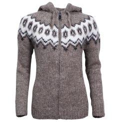 Hulda Icelandic Wool Sweater Zip and Hood
