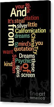Can You Sort The Lyrics? Red Hot Chilli Lyrics. Game For Music Fans Canvas Print by Pablo Franchi