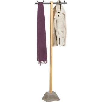 This is quite an interesting coat rack. Nothing quite like a phone line holding up your coats and scarves!