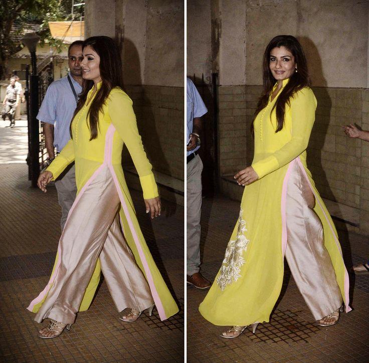 Raveena Tandon in vibrant yellow kurta for the recently held 'Tobacco free mumbai police station' launch