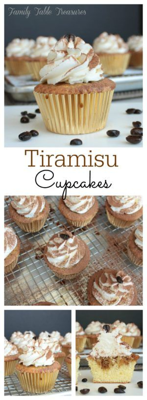 No fork needed to enjoy your favorite Italian treat with these Tiramisu Cupcakes!  A light, fluffy vanilla cupcake is soaked with coffee syrup  and then topped with a creamy whipped mascarpone frosting.