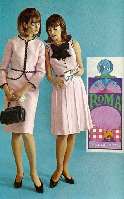 Jean Shrimpton (on the left) and other model (unknown to me), modeling inside of Mademoiselle magazine, May 1965.