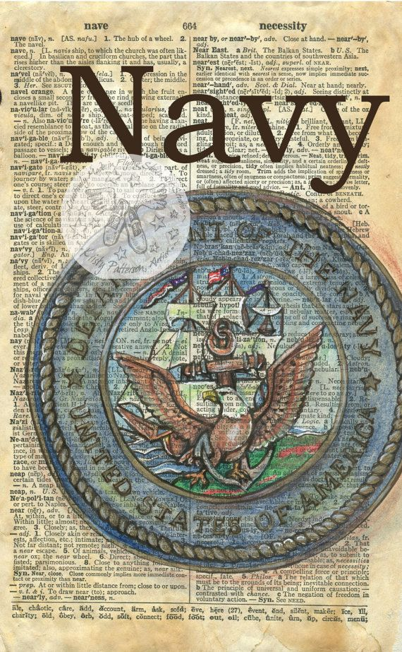 PRINT:  Navy Emblem Mixed Media Drawing on Antique Dictionary Page