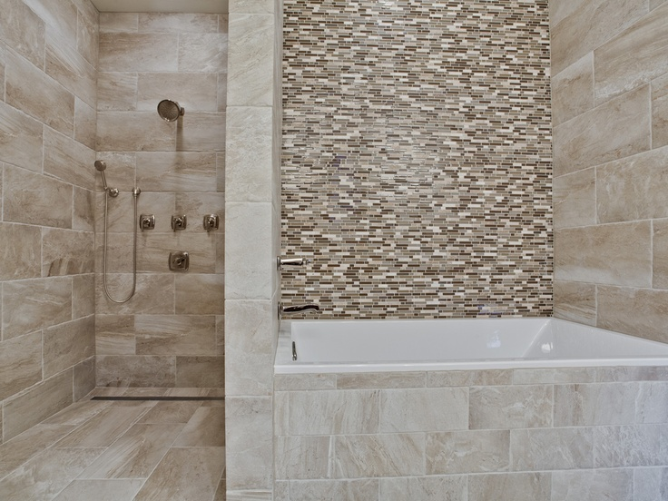 Large Walk In Shower And Soaker Tub With Glass Tile
