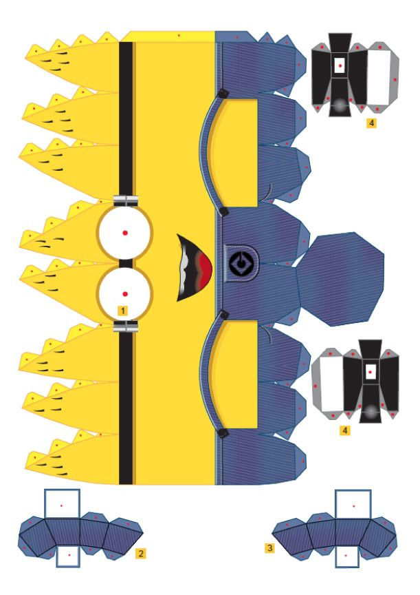 3D paper minion templates. Perfect craft to do at a party and the kids can take a minion that they made home. You could buy googgly eyes to glue on them to finish them off.