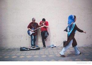 Two singers on a street in Tehran.