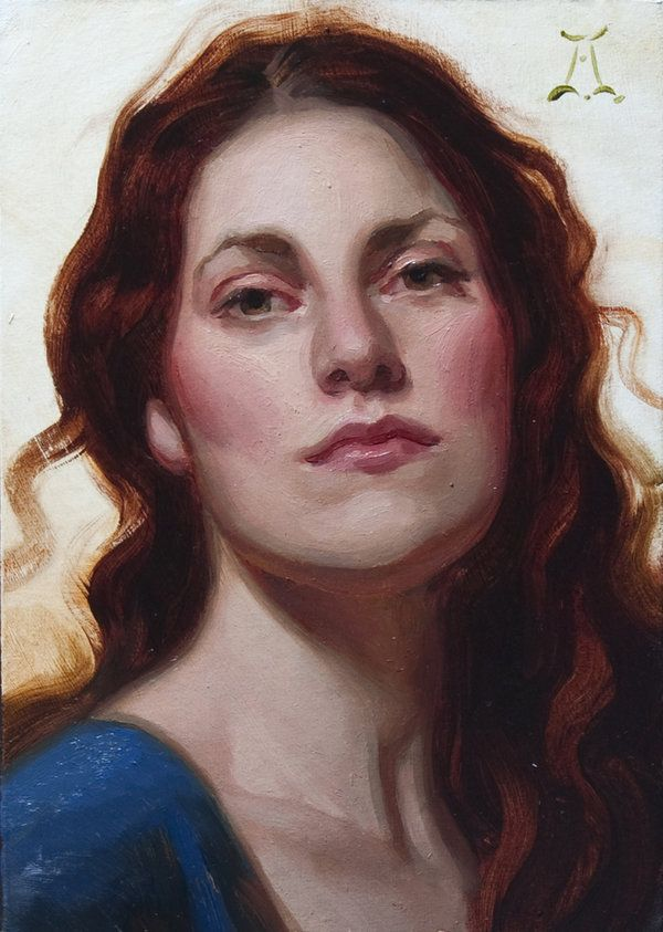Red Ringlets by Athanasios Deshields (oil painting, alla prima, fine art, traditional, portrait, illustration)