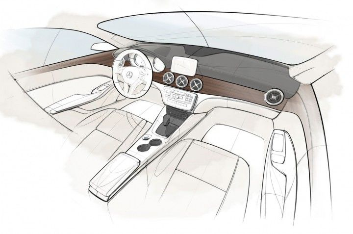Mercedes-Benz CLA-Class Interior Design Sketch.