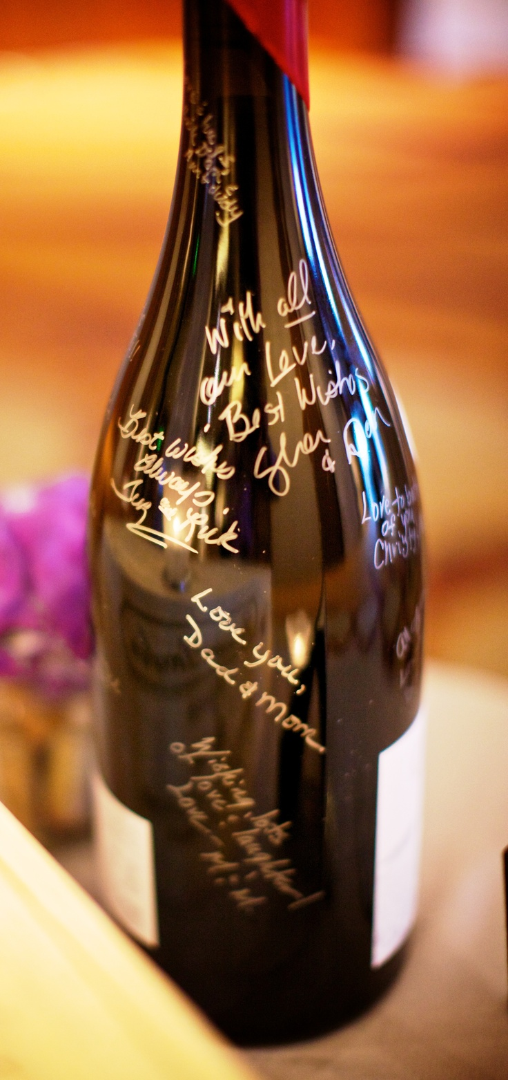 Why not have guests sign a bottle of wine instead of a guest book. Relive memories later as you share a drink!   - Amanda, Director of Catering at @Four Seasons Hotel Denver