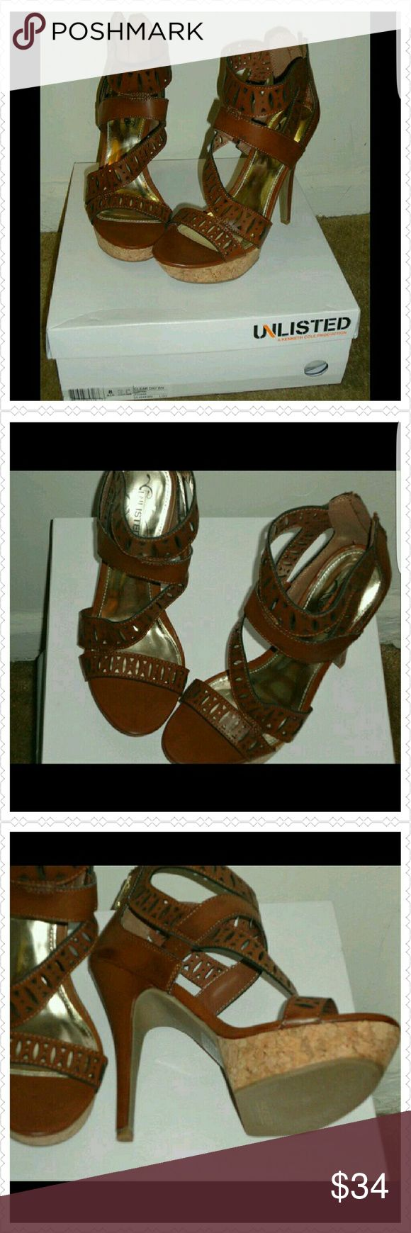 Platform Strap Sandals Super cute Platform Camel Sandals. Never worn with Box. Thank you and Happy Poshing!!! NWOT Unlisted by Kenneth Cole Shoes Sandals