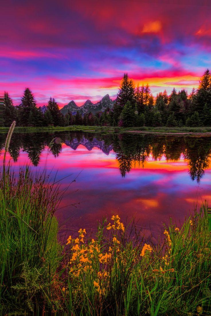 Sunset Reflection in Wyoming #BeautifulNature #Reflections #NaturePhotography #Nature #Photography #Sunsets #Travel #Wyoming