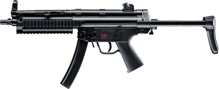 HK's famous machine-pistol as Airsoft-version with Dual-Power-system (electric/spring-activated). New improved gear box, up to 1000 shots/min. Adjustable rear sight like the original. Retractable stock, three RAS-Picatinny-rails at the front. Including Battery and Charger. - Permitted for Germany 14 years and older - Zulgelassen fur Deutschland ab 14 Jahren