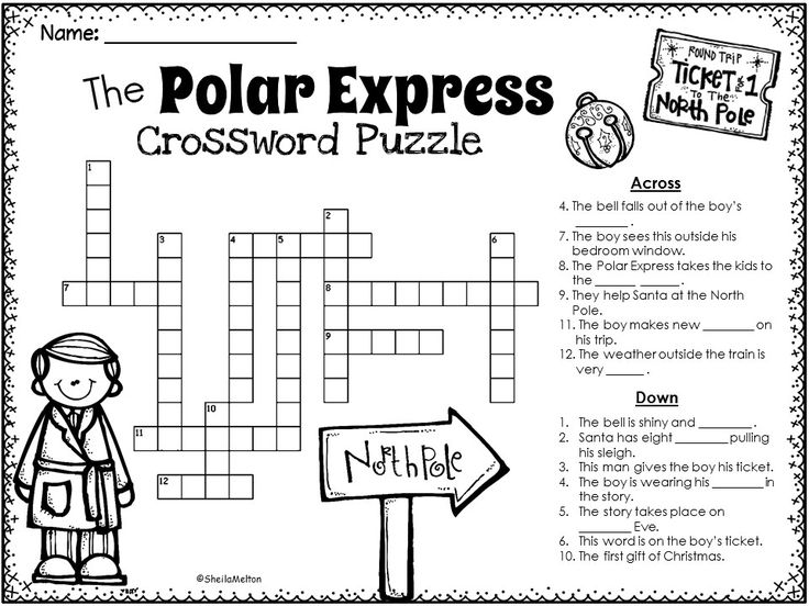 The Polar Express Crossword Puzzle. One of tons of Polar Express activities and printables in this Polar Express unit!