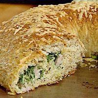 Ostekringle med spinat og skinkefyll -