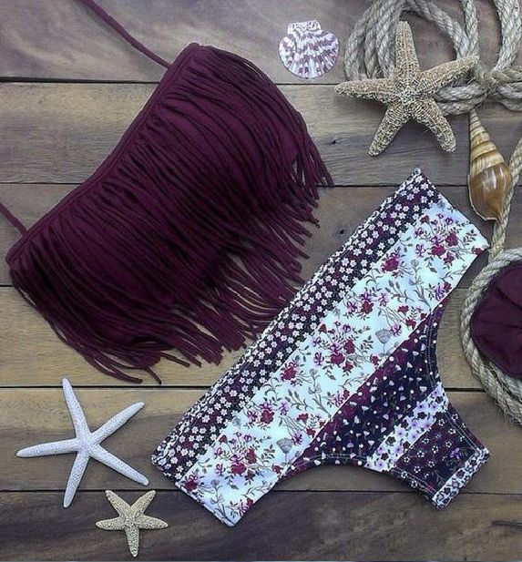 Own it, ladies.Make yourself more sexy. Stay sexy in bandeau design, and tasseled surface make it flowy and cute, stock it up for upcoming vocation. Details: - Fringe Bandeau bikini top - Strapless -