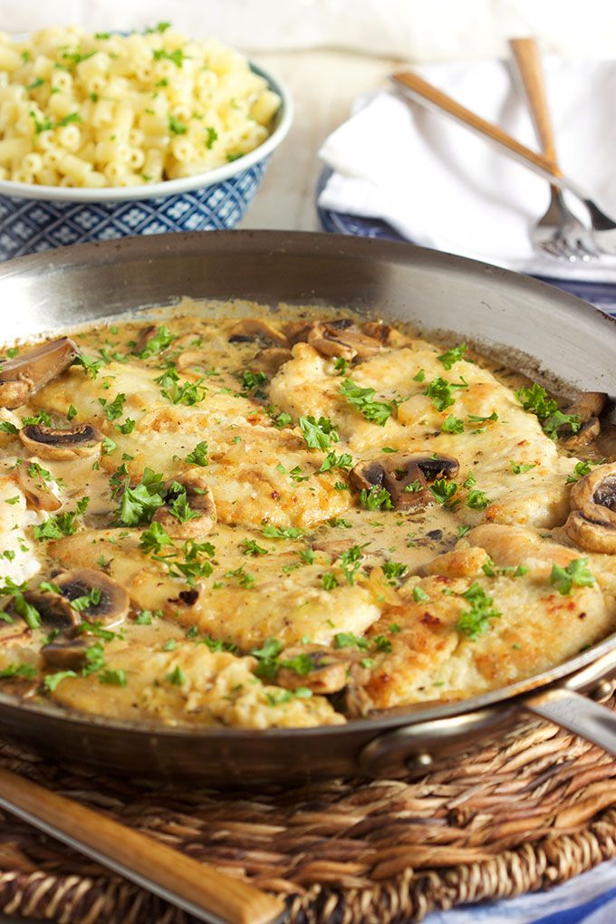 Super easy to make Chicken Marsala Skillet recipe is the weeknight dinner of your dreams. No more takeout ever again! | TheSuburbanSoapbox.com