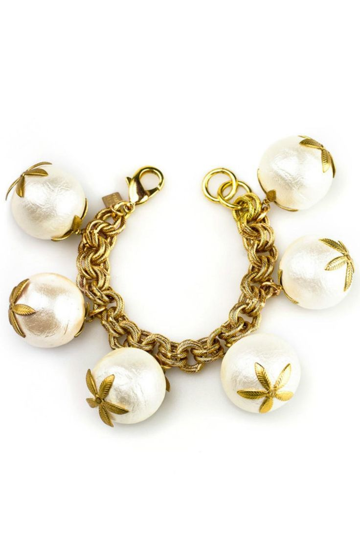 """A charm bracelet of over-sized cotton pearls on a chunky double link chain bracelet. It's a Signature John Wind look that is both timeless and fun!     Measures: 8-8 1/2"""" overall   Cotton Pearl Bracelet by John Wind Maximal Art. Accessories - Jewelry - Bracelets Pennsylvania"""