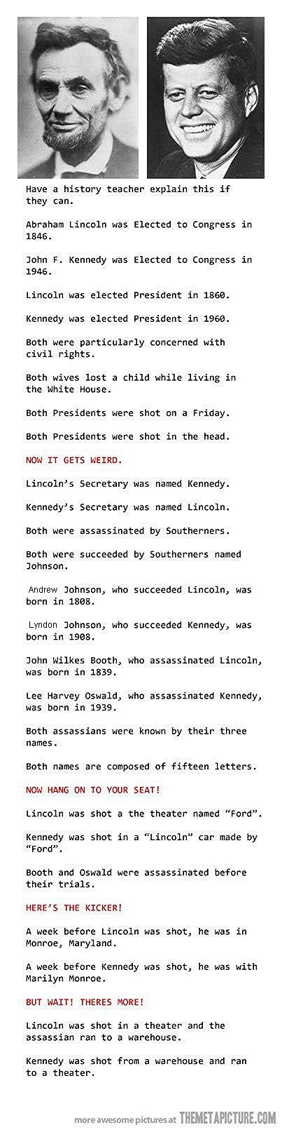 Lincoln & Kennedy - If this is factual this is very odd! I have read this before years ago in a book or magazine.