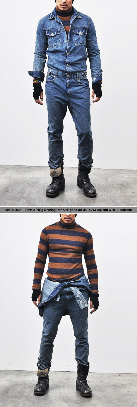 Workwear Vintage Blue Denim Jumpsuit-Jeans