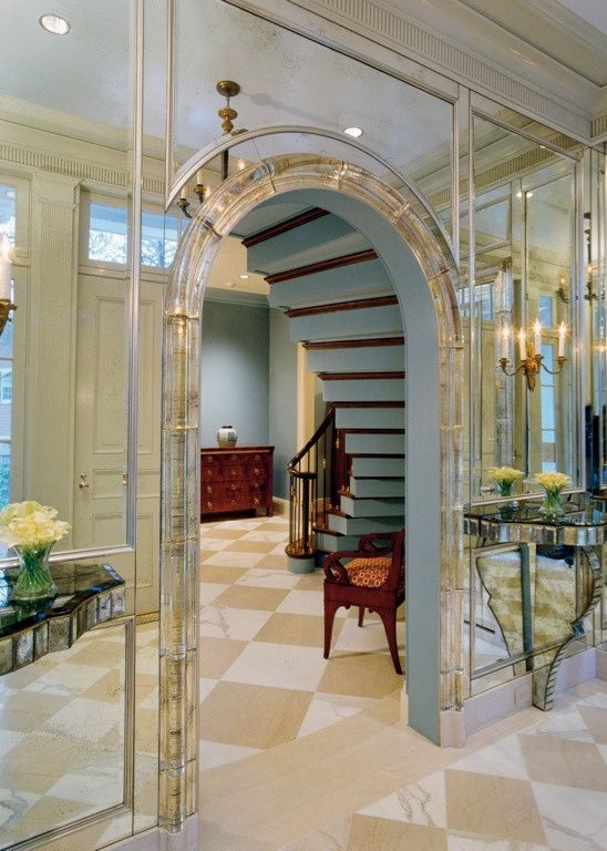 Mirror places within molding (use on smaller scale around edges within decorative molding design)