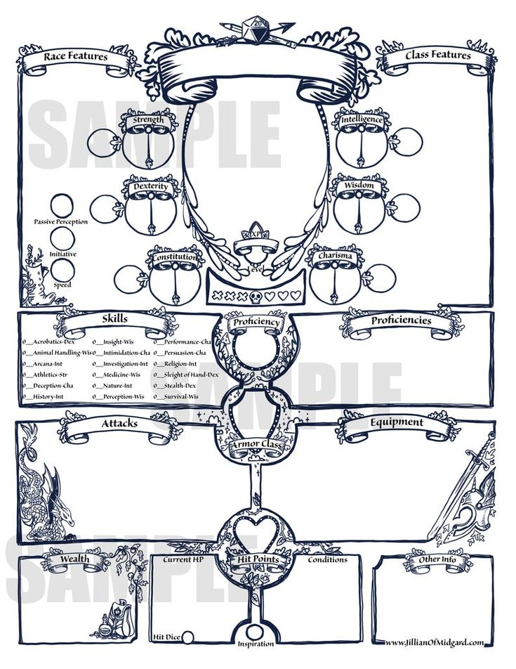 PDF printable Dungeons & Dragons 5th ed Character Sheet