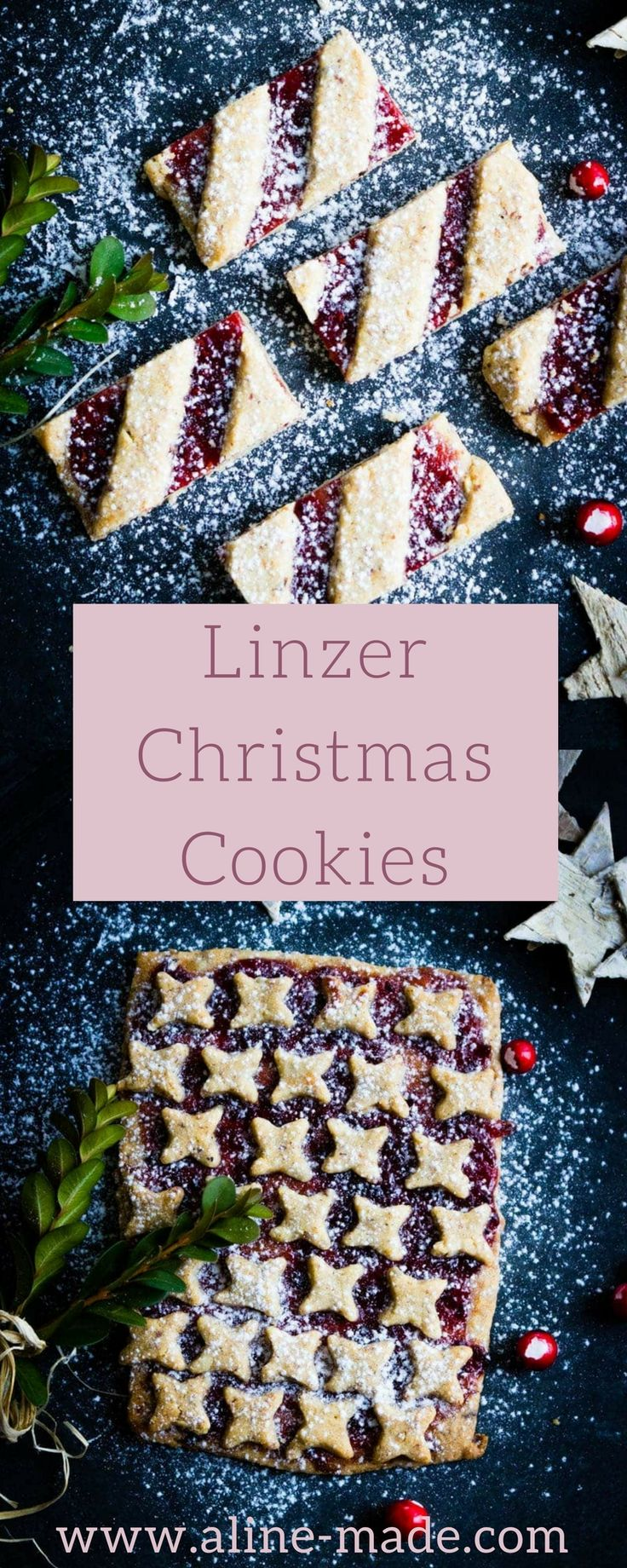 The recipe for this Linzer Christmas Cookies is almost the same than for the Linzer Torte. But instead of doing it in a tart form, you make a few cookies which you can cut, after baking, into small bite-sized pieces.