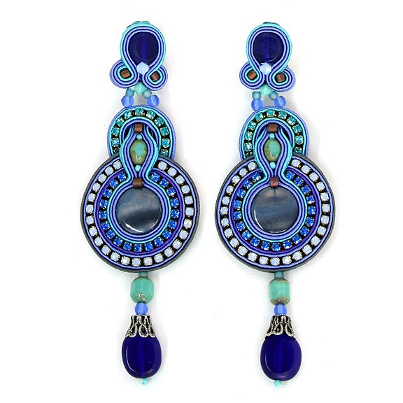 Indigo Haute Couture Earrings (Clip-On)  by Dori Csengeri