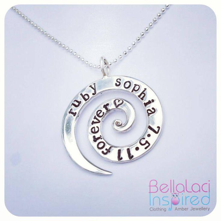 BellaLaci Sterling Silver Handstamped Love Spiral Pendant.