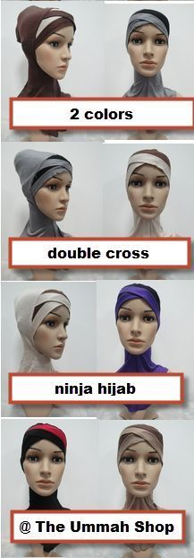 new 2 color double Crossover Ninja Underscarf neck cover hijab muslim bonnet cap
