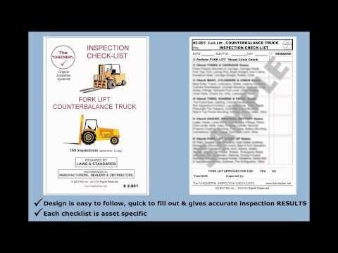 """Forklift Inspection Checklist Counterbalance Trucks # 2-001 The Checker""  Embedded image permalink https://www.youtube.com/watch?v=Igg7CdzFZeE&list=UUFOXQFpRcuX3e0w6qsrmvkQ&index=46"