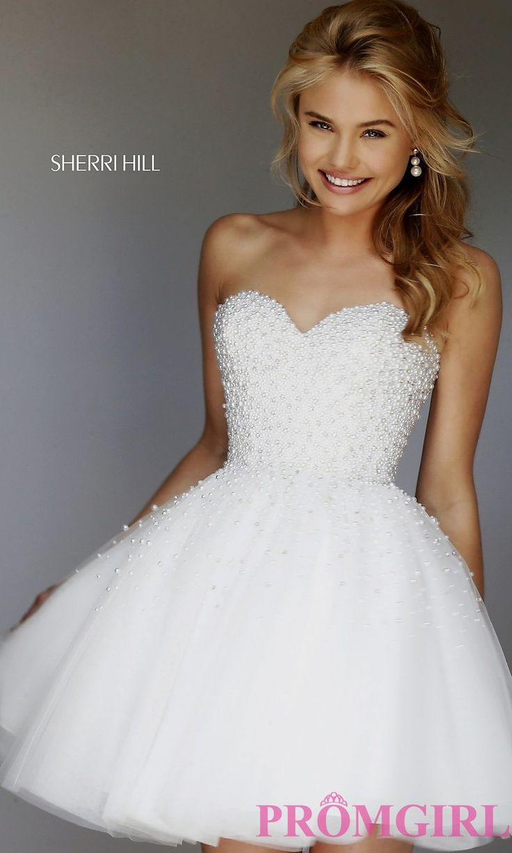 Short strapless ivory sweetheart dress by sherri hill for Sherri hill short wedding dress