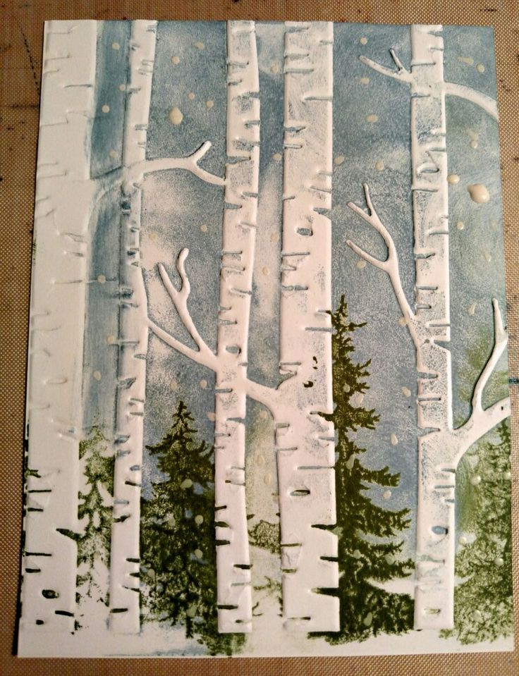 SU birch trees embossing folder, Tim Holtz trees, marvy snow pen, distress ink stormy sky