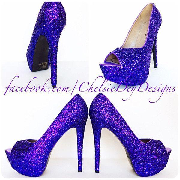 1f03653b91 Purple Glitter High Heels Royal Purple Peep Toe Pumps Open Toe Wedding... (