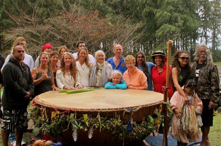 White Eagle and Hawaiin Community with Grandmother Drum, Big Island
