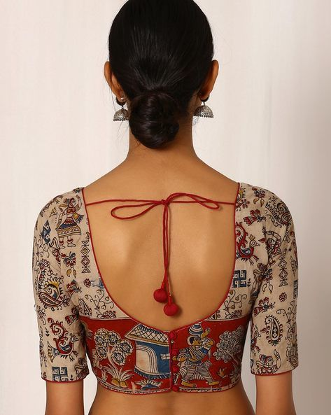 Buy Beige Indie Picks Kalamkari Print Cotton Blouse