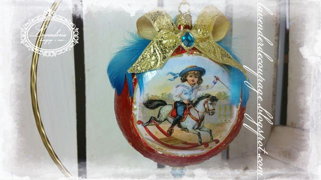 "Lavenderia - decoupage i inne: Medalion ""Dzieci na koniu na biegunach"""