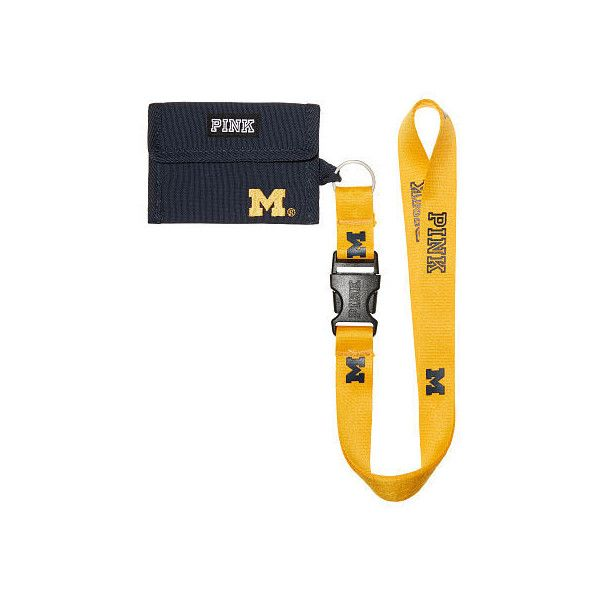 PINK University Of Michigan ID Holder Lanyard ($20) ❤ liked on Polyvore featuring accessories, lanyards, white and detachable key ring